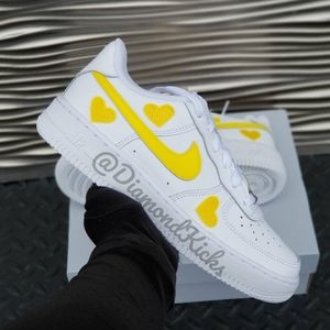 Custom Nike Air Force 1 Custom Hearts White Yellow